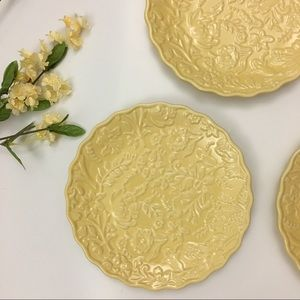 Beautiful Textured Yellow Plates Floral Pattern